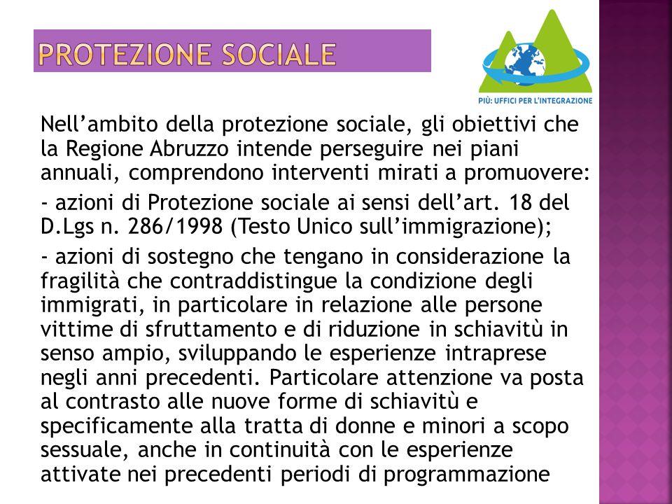 Nell'ambito della protezione sociale, gli obiettivi che la Regione Abruzzo intende perseguire nei piani annuali, comprendono interventi mirati a promu