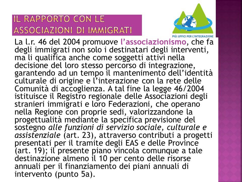 La l.r. 46 del 2004 promuove l'associazionismo, che fa degli immigrati non solo i destinatari degli interventi, ma li qualifica anche come soggetti at