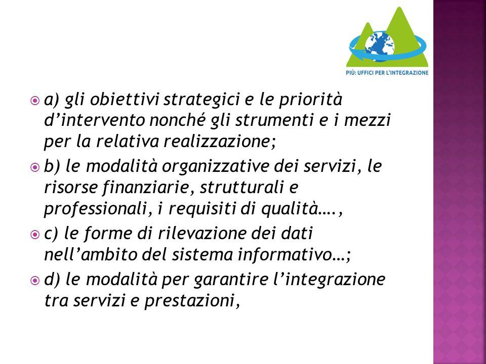  a) gli obiettivi strategici e le priorità d'intervento nonché gli strumenti e i mezzi per la relativa realizzazione;  b) le modalità organizzative