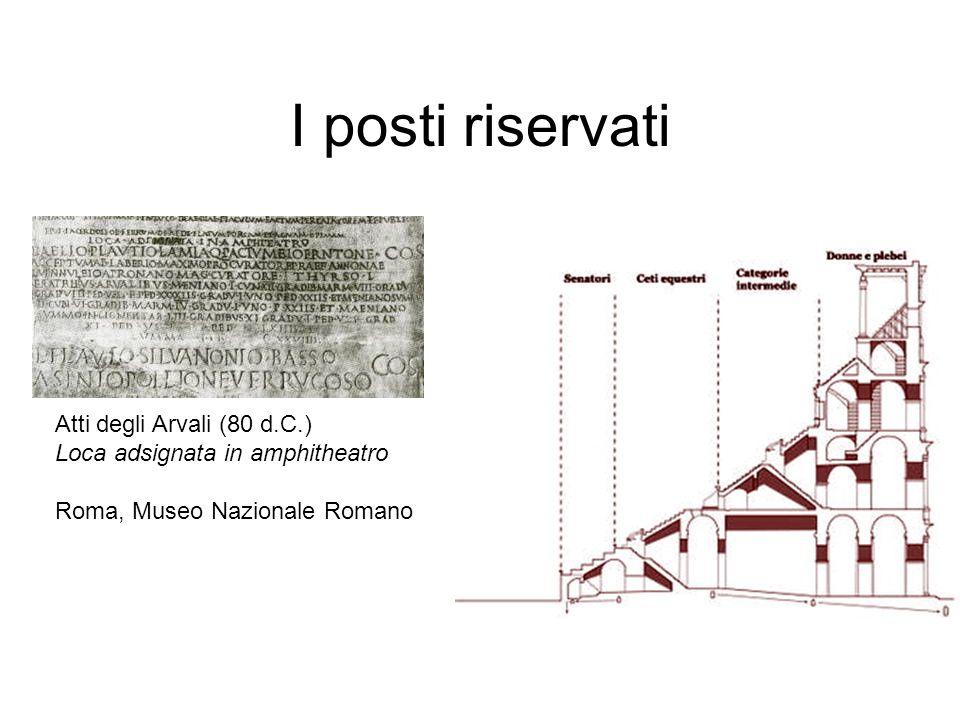 I posti riservati Atti degli Arvali (80 d.C.) Loca adsignata in amphitheatro Roma, Museo Nazionale Romano
