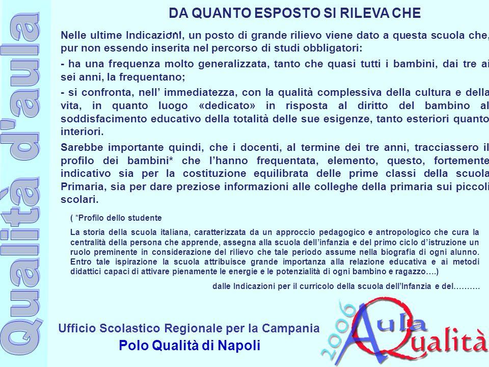 Ufficio Scolastico Regionale per la Campania Polo Qualità di Napoli DA QUANTO ESPOSTO SI RILEVA CHE … Nelle ultime Indicazioni, un posto di grande ril