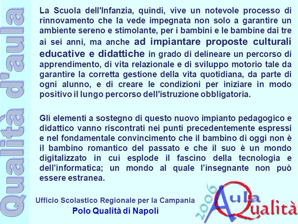 Ufficio Scolastico Regionale per la Campania Polo Qualità di Napoli La Scuola dell'Infanzia, quindi, vive un notevole processo di rinnovamento che la
