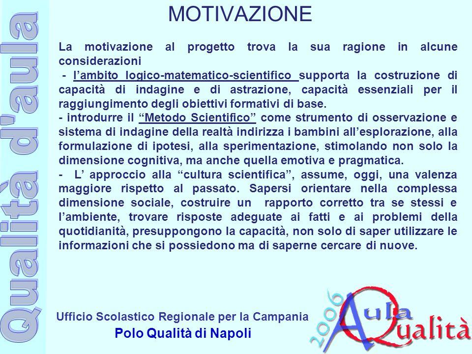 Ufficio Scolastico Regionale per la Campania Polo Qualità di Napoli La motivazione al progetto trova la sua ragione in alcune considerazioni - l'ambit