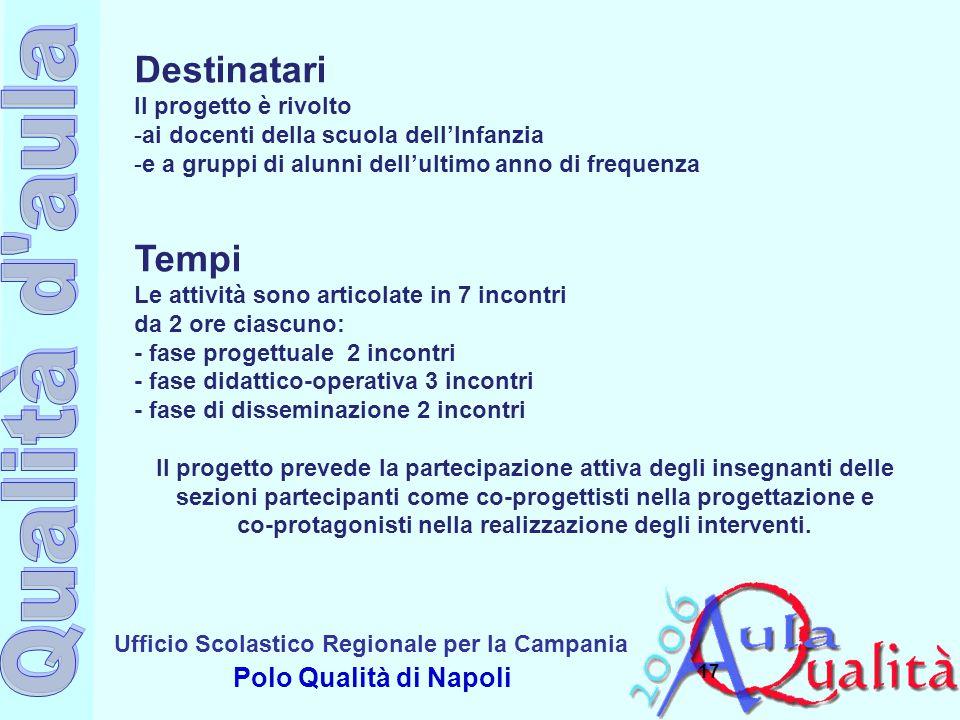 Ufficio Scolastico Regionale per la Campania Polo Qualità di Napoli 17 Destinatari Il progetto è rivolto -ai docenti della scuola dell'Infanzia -e a g