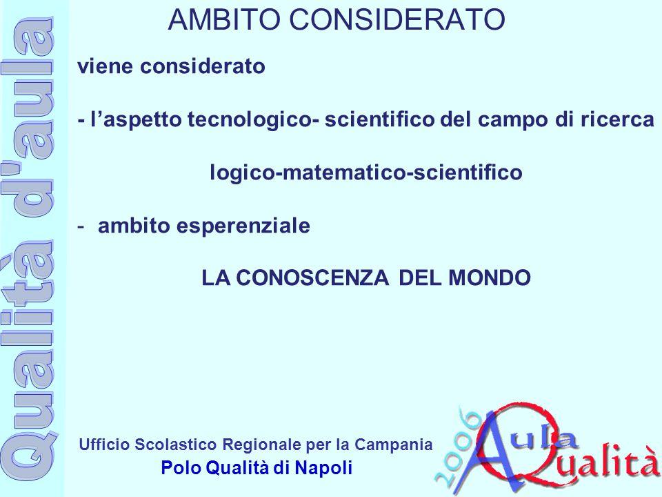 Ufficio Scolastico Regionale per la Campania Polo Qualità di Napoli viene considerato - l'aspetto tecnologico- scientifico del campo di ricerca logico