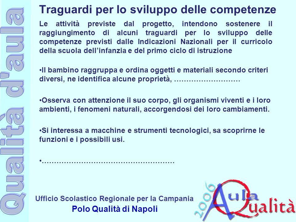 Ufficio Scolastico Regionale per la Campania Polo Qualità di Napoli Le attività previste dal progetto, intendono sostenere il raggiungimento di alcuni