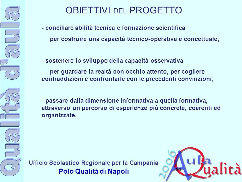 Ufficio Scolastico Regionale per la Campania Polo Qualità di Napoli 21 - conciliare abilità tecnica e formazione scientifica per costruire una capacit