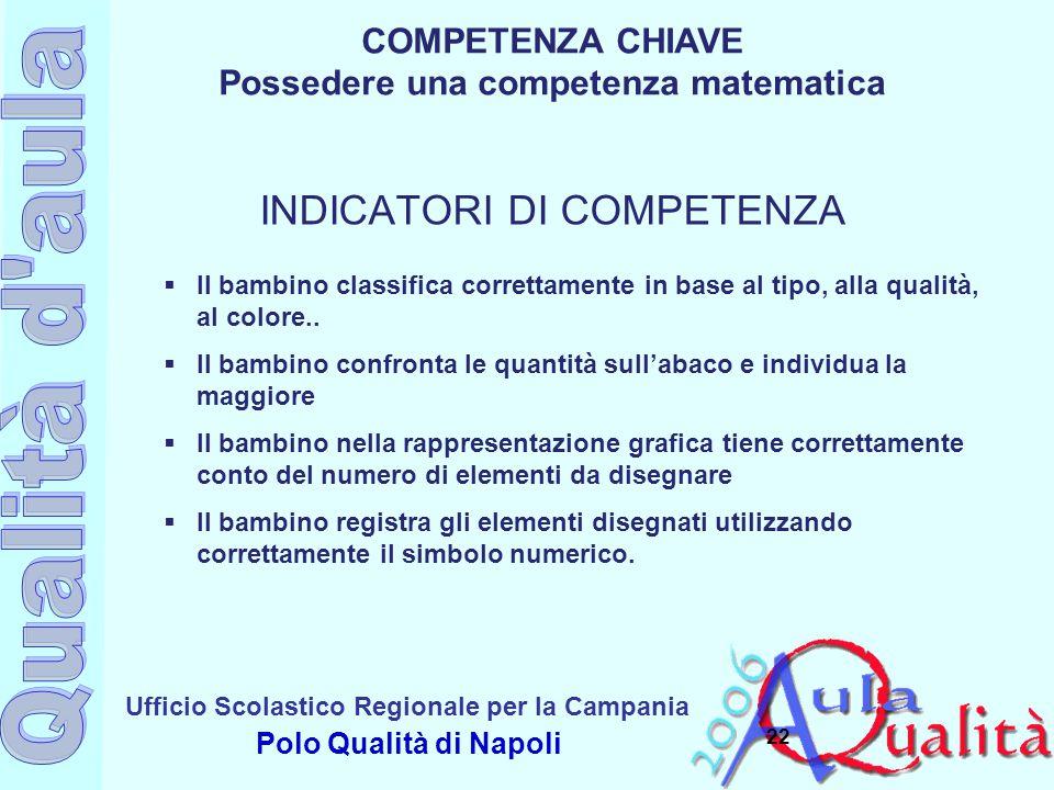 Ufficio Scolastico Regionale per la Campania Polo Qualità di Napoli 22  Il bambino classifica correttamente in base al tipo, alla qualità, al colore.