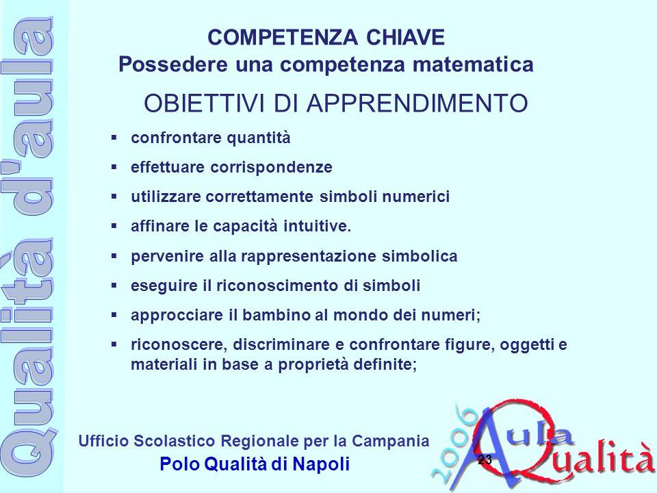 Ufficio Scolastico Regionale per la Campania Polo Qualità di Napoli 23  confrontare quantità  effettuare corrispondenze  utilizzare correttamente s
