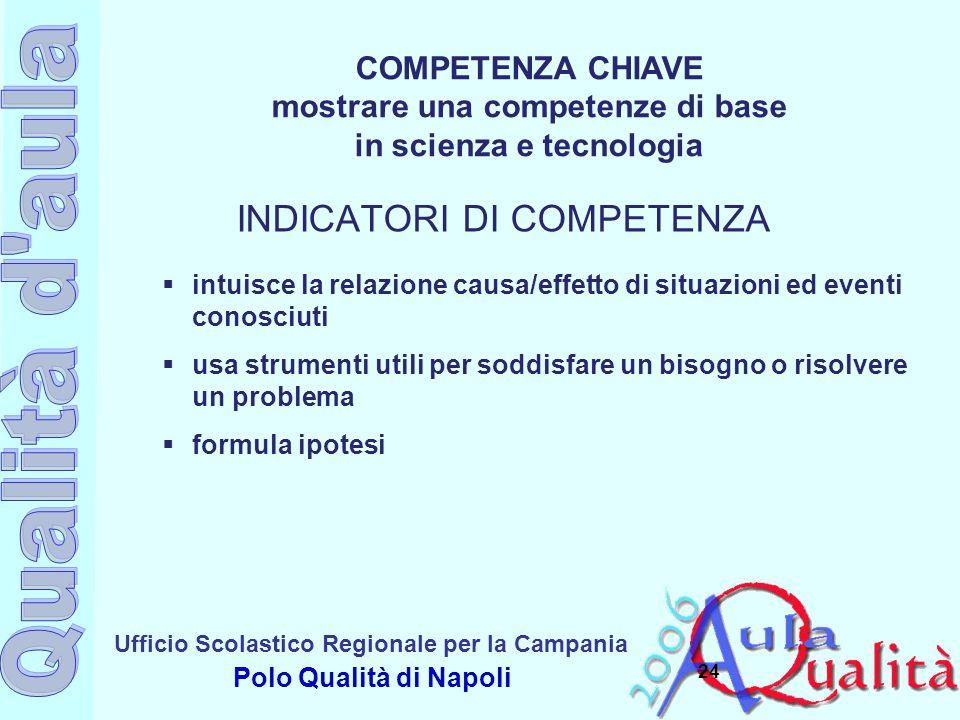 Ufficio Scolastico Regionale per la Campania Polo Qualità di Napoli 24  intuisce la relazione causa/effetto di situazioni ed eventi conosciuti  usa