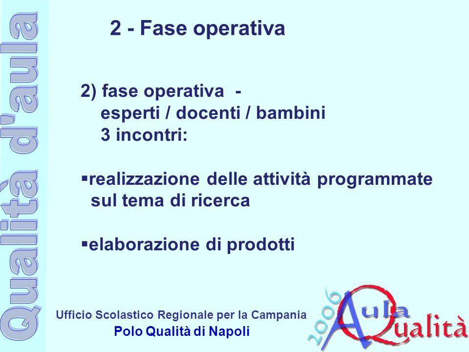 Ufficio Scolastico Regionale per la Campania Polo Qualità di Napoli 2 - Fase operativa 2) fase operativa - esperti / docenti / bambini 3 incontri:  r
