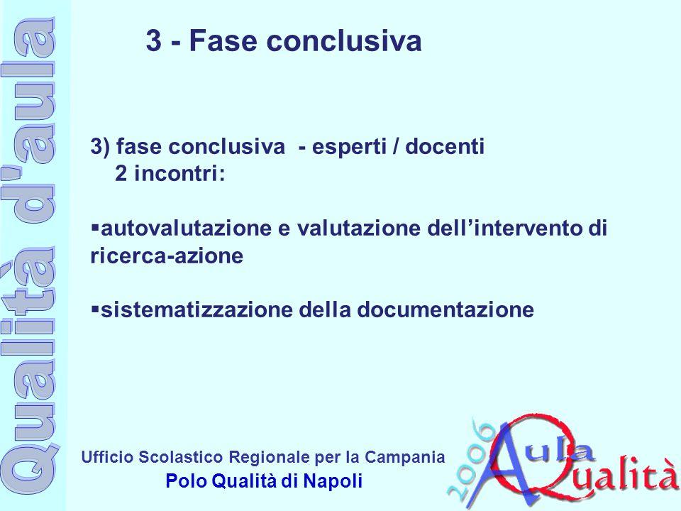 Ufficio Scolastico Regionale per la Campania Polo Qualità di Napoli 3 - Fase conclusiva 3) fase conclusiva - esperti / docenti 2 incontri:  autovalut
