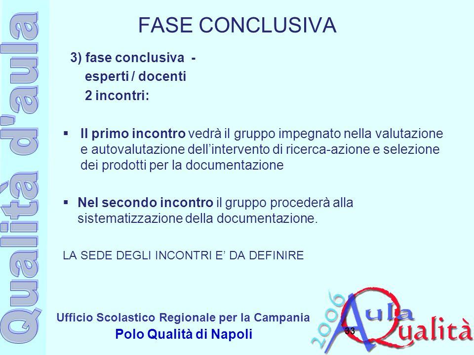 Ufficio Scolastico Regionale per la Campania Polo Qualità di Napoli FASE CONCLUSIVA 3) fase conclusiva - esperti / docenti 2 incontri:  Il primo inco