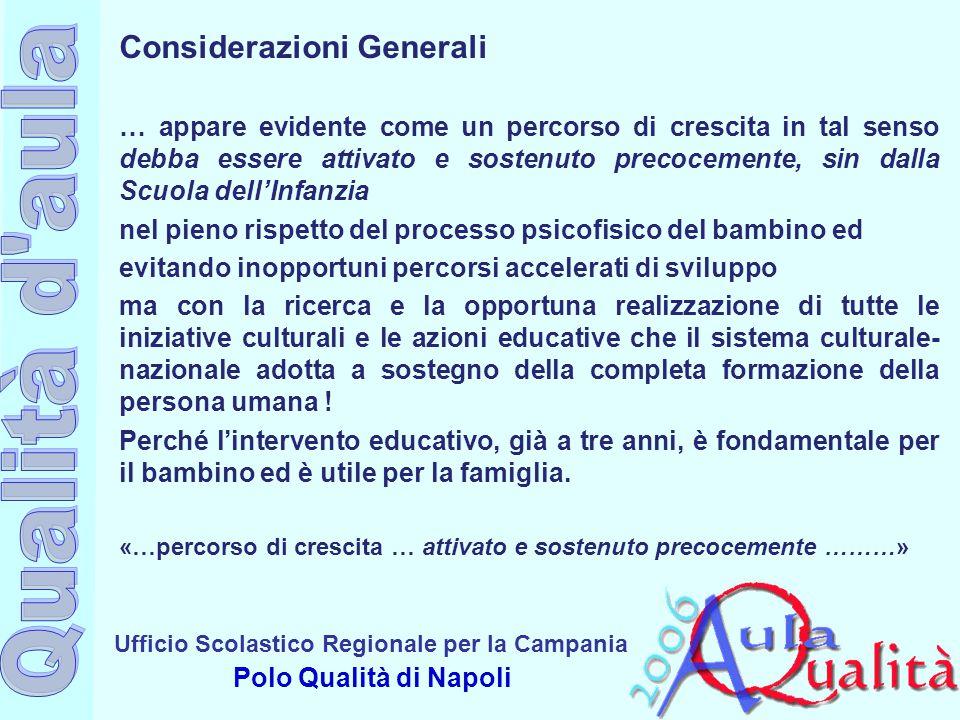 Ufficio Scolastico Regionale per la Campania Polo Qualità di Napoli Considerazioni Generali … appare evidente come un percorso di crescita in tal sens
