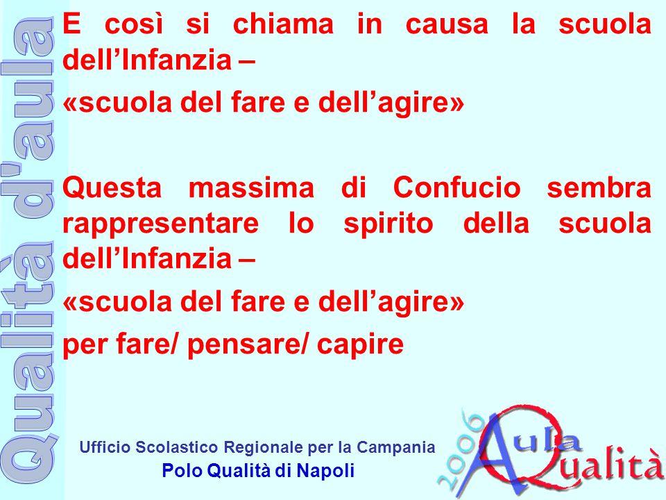 Ufficio Scolastico Regionale per la Campania Polo Qualità di Napoli E così si chiama in causa la scuola dell'Infanzia – «scuola del fare e dell'agire»
