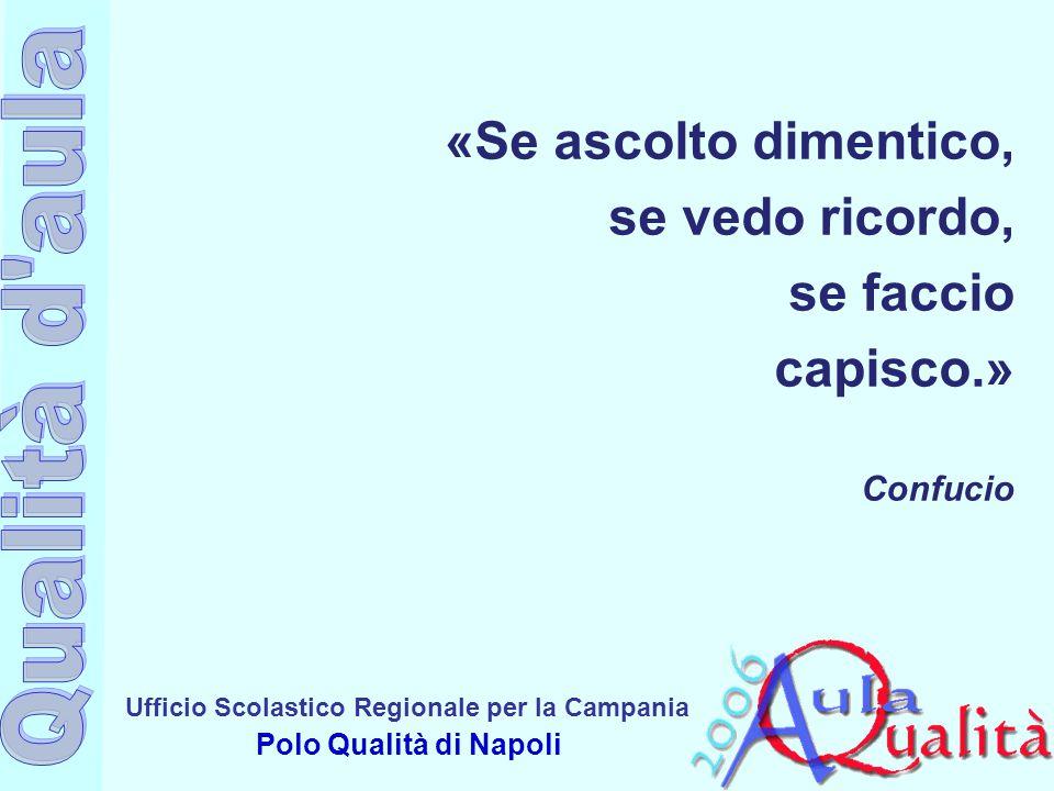 Ufficio Scolastico Regionale per la Campania Polo Qualità di Napoli «Se ascolto dimentico, se vedo ricordo, se faccio capisco.» Confucio