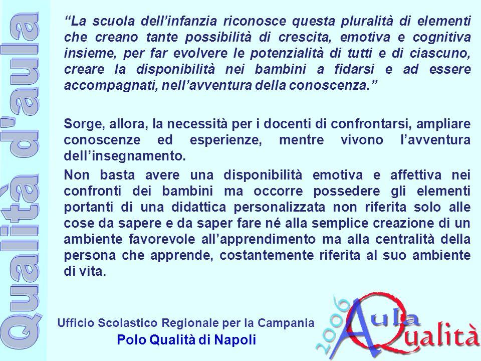 """Ufficio Scolastico Regionale per la Campania Polo Qualità di Napoli """"La scuola dell'infanzia riconosce questa pluralità di elementi che creano tante p"""