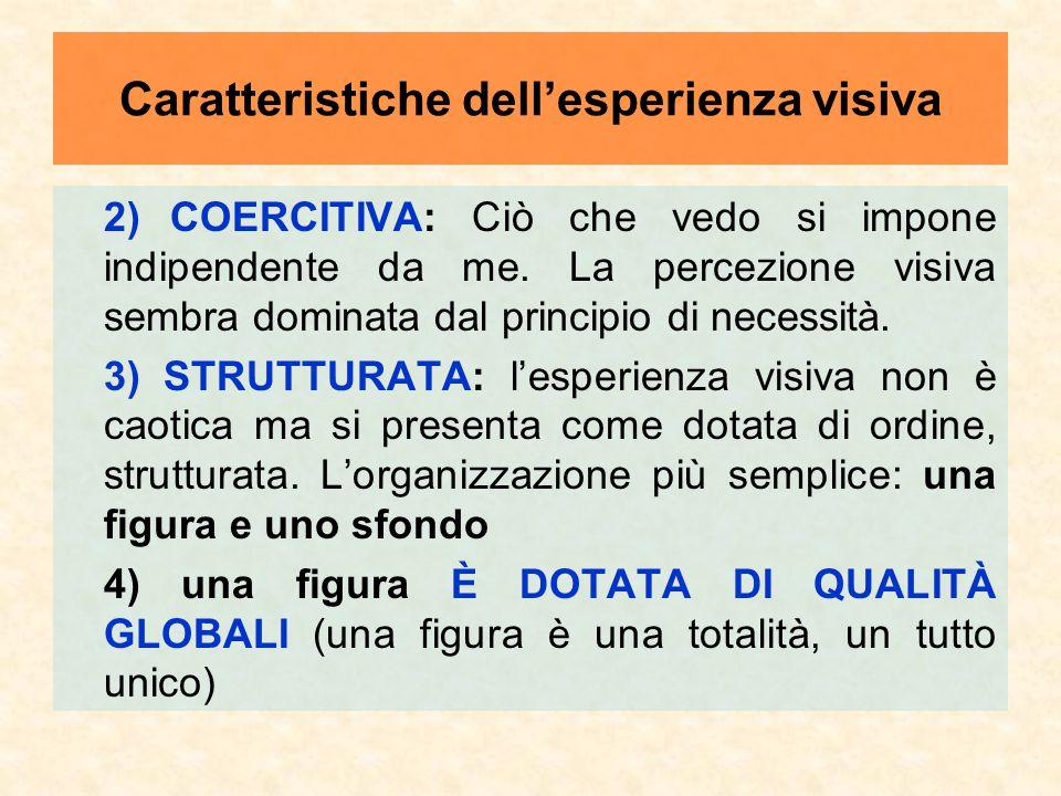 2)COERCITIVA: Ciò che vedo si impone indipendente da me. La percezione visiva sembra dominata dal principio di necessità. 3) STRUTTURATA: l'esperienza