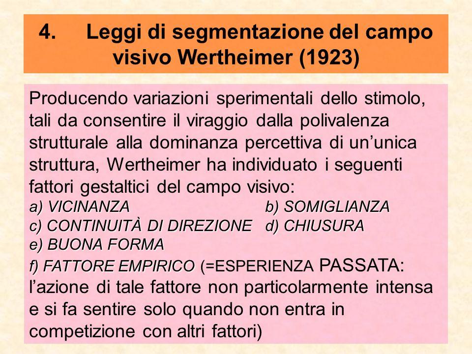 4.Leggi di segmentazione del campo visivo Wertheimer (1923) Producendo variazioni sperimentali dello stimolo, tali da consentire il viraggio dalla pol