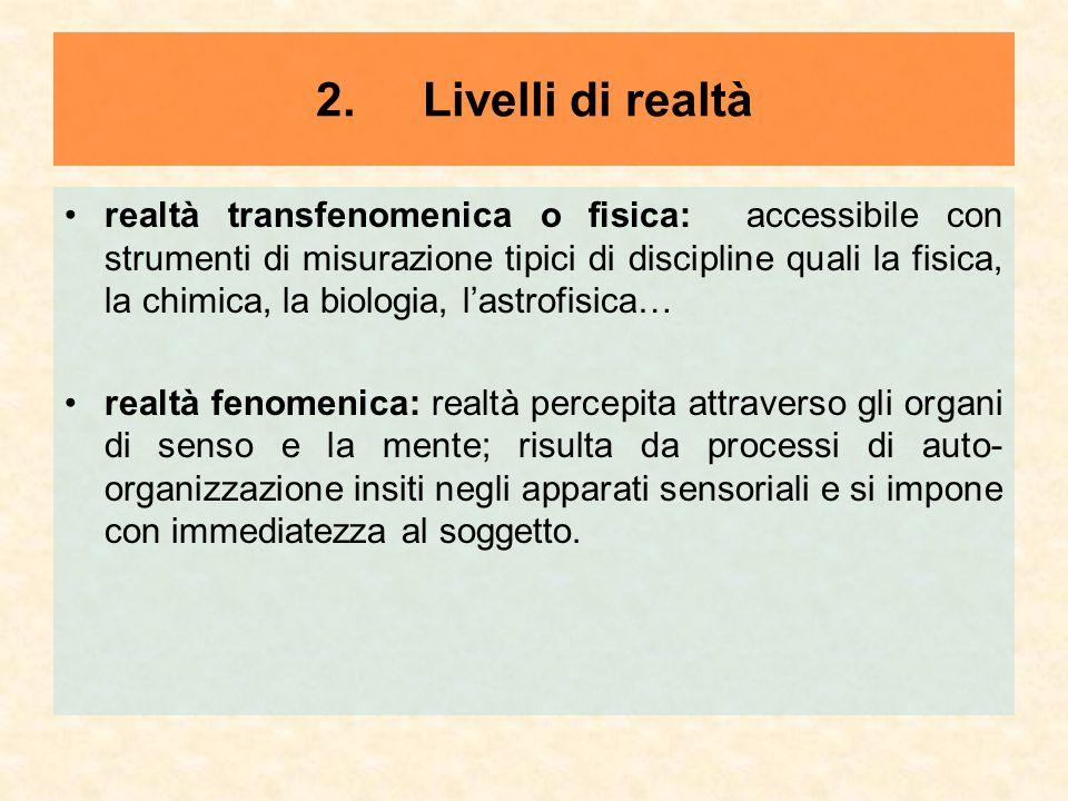2.Livelli di realtà realtà transfenomenica o fisica: accessibile con strumenti di misurazione tipici di discipline quali la fisica, la chimica, la bio