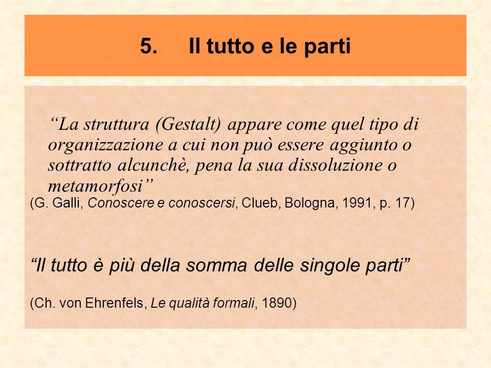 """5. Il tutto e le parti """"La struttura (Gestalt) appare come quel tipo di organizzazione a cui non può essere aggiunto o sottratto alcunchè, pena la sua"""