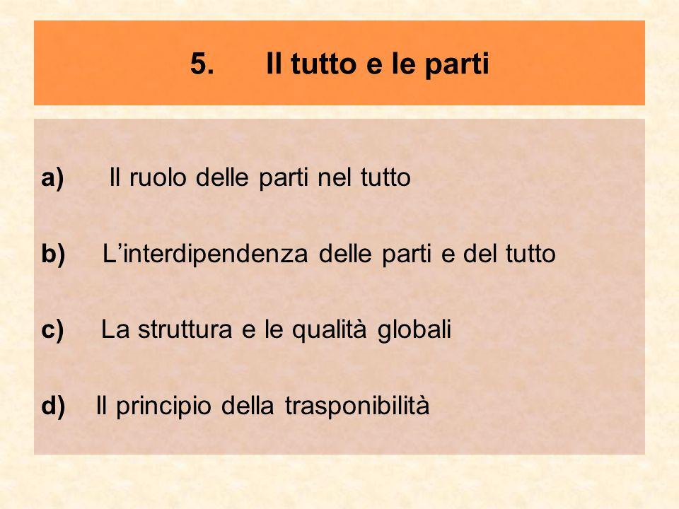 5. Il tutto e le parti a) Il ruolo delle parti nel tutto b) L'interdipendenza delle parti e del tutto c) La struttura e le qualità globali d) Il princ