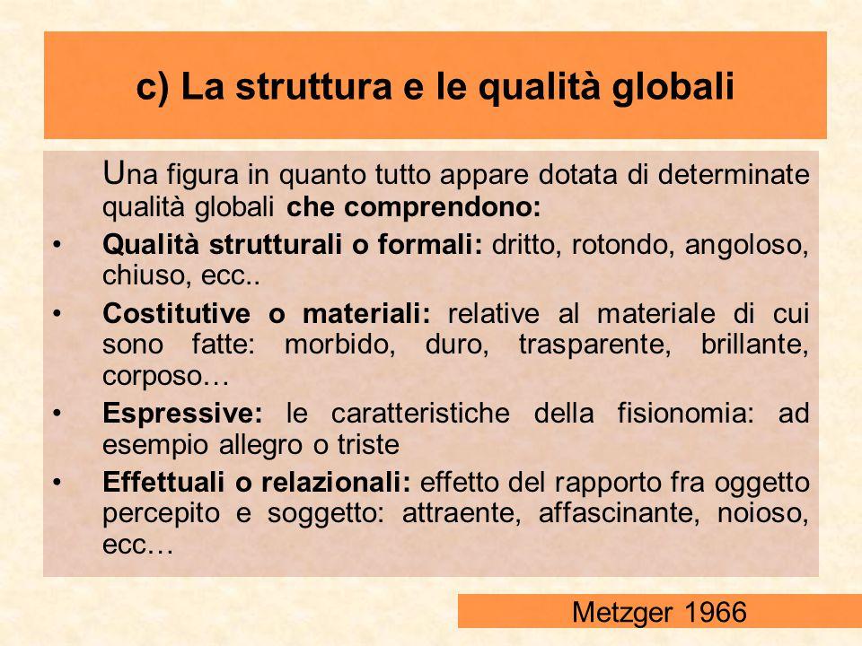 U na figura in quanto tutto appare dotata di determinate qualità globali che comprendono: Qualità strutturali o formali: dritto, rotondo, angoloso, ch