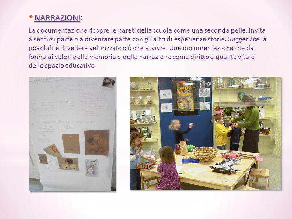 NARRAZIONI NARRAZIONI: La documentazione ricopre le pareti della scuola come una seconda pelle. Invita a sentirsi parte o a diventare parte con gli al