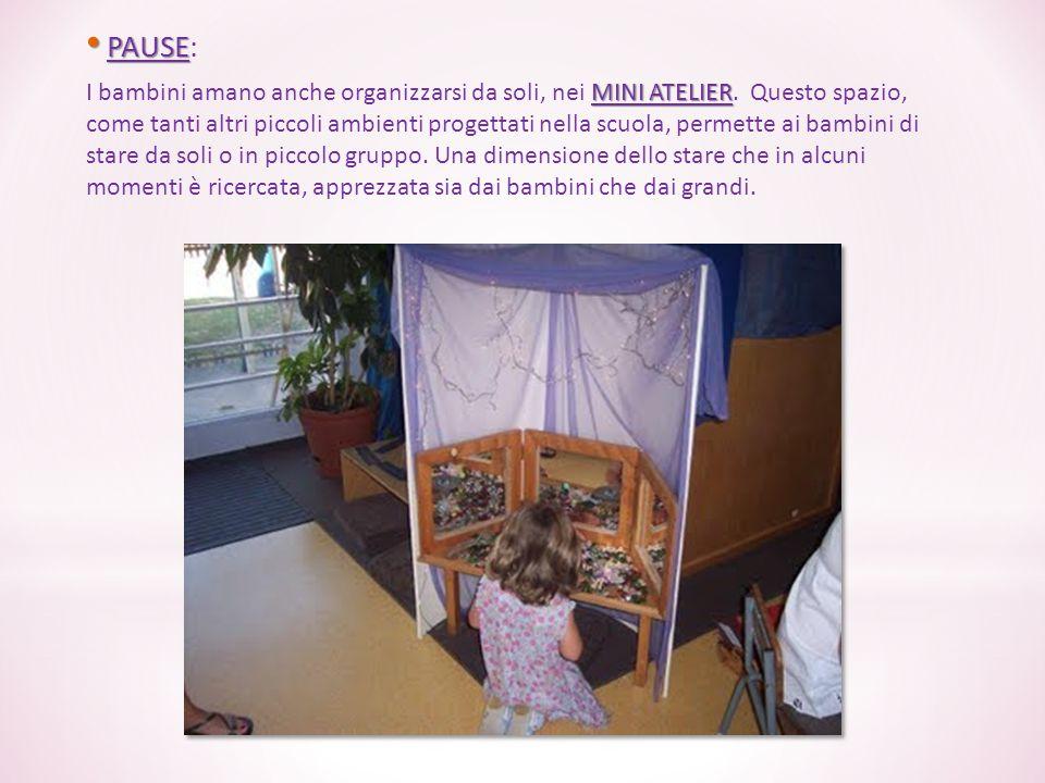 PAUSE PAUSE: MINI ATELIER I bambini amano anche organizzarsi da soli, nei MINI ATELIER. Questo spazio, come tanti altri piccoli ambienti progettati ne