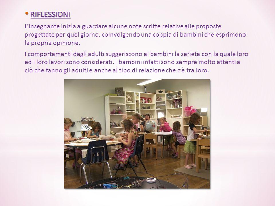 RIFLESSIONI RIFLESSIONI L'insegnante inizia a guardare alcune note scritte relative alle proposte progettate per quel giorno, coinvolgendo una coppia