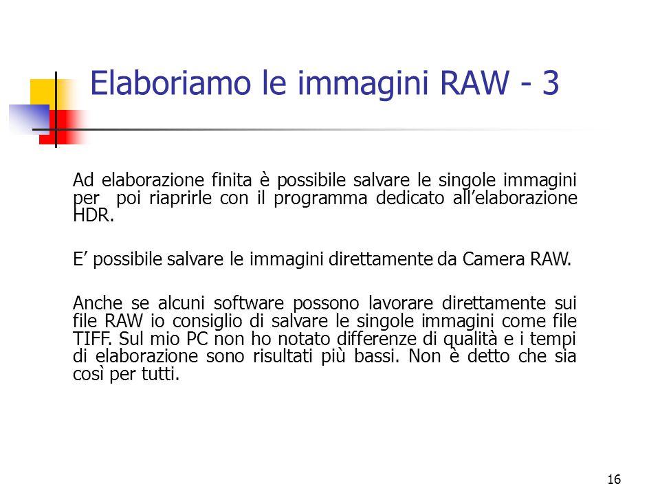 16 Elaboriamo le immagini RAW - 3 Ad elaborazione finita è possibile salvare le singole immagini per poi riaprirle con il programma dedicato all'elabo