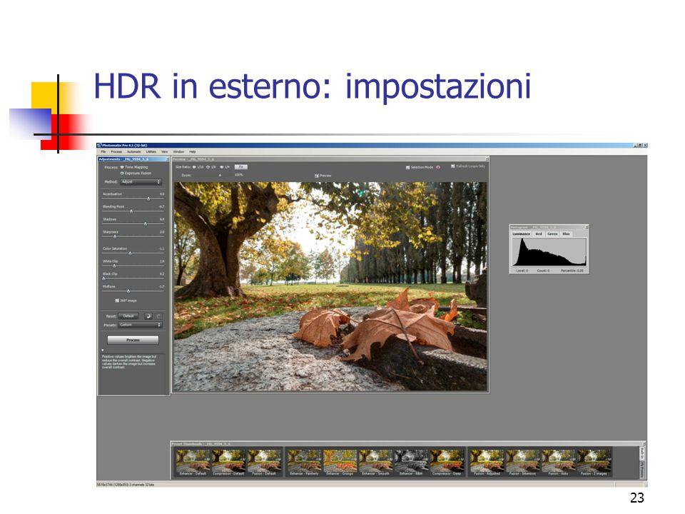 23 HDR in esterno: impostazioni