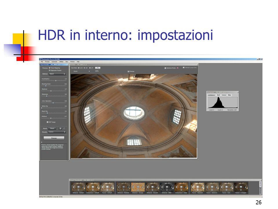 26 HDR in interno: impostazioni