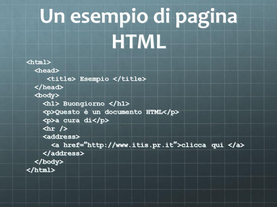 Un esempio di pagina HTML <html> Esempio Esempio Buongiorno Buongiorno Questo è un documento HTML Questo è un documento HTML a cura di a cura di clicca qui clicca qui </html>