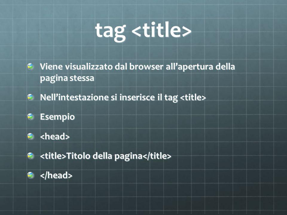 tag tag Viene visualizzato dal browser all'apertura della pagina stessa Nell'intestazione si inserisce il tag Nell'intestazione si inserisce il tag Esempio<head> Titolo della pagina Titolo della pagina </head>
