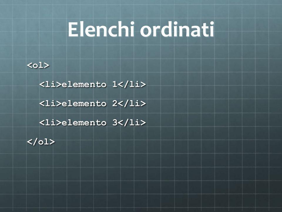 Elenchi ordinati <ol> elemento 1 elemento 1 elemento 2 elemento 2 elemento 3 elemento 3 </ol>