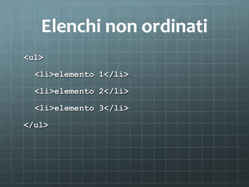 Elenchi non ordinati <ul> elemento 1 elemento 1 elemento 2 elemento 2 elemento 3 elemento 3 </ul>