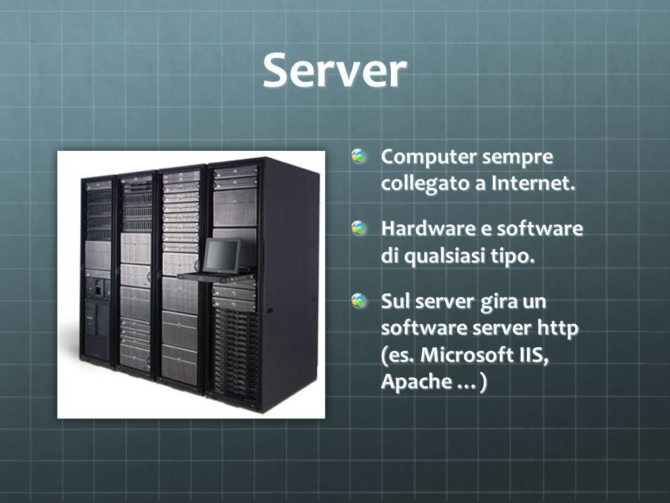 Richiesta del client Client: Richiede un servizio specificando un URL Es.
