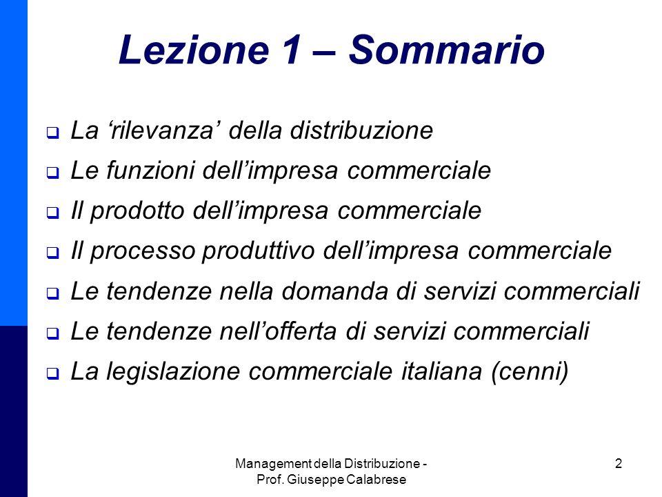 Management della Distribuzione - Prof.Giuseppe Calabrese 23 Recenti novità legislative Il DL n.