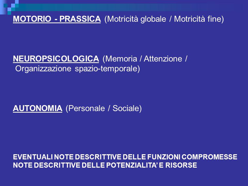 MOTORIO - PRASSICA (Motricità globale / Motricità fine) NEUROPSICOLOGICA (Memoria / Attenzione / Organizzazione spazio-temporale) AUTONOMIA (Personale / Sociale) EVENTUALI NOTE DESCRITTIVE DELLE FUNZIONI COMPROMESSE NOTE DESCRITTIVE DELLE POTENZIALITA' E RISORSE