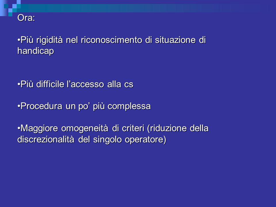 Ora: Più rigidità nel riconoscimento di situazione di handicapPiù rigidità nel riconoscimento di situazione di handicap Più difficile l'accesso alla csPiù difficile l'accesso alla cs Procedura un po' più complessaProcedura un po' più complessa Maggiore omogeneità di criteri (riduzione della discrezionalità del singolo operatore)Maggiore omogeneità di criteri (riduzione della discrezionalità del singolo operatore)