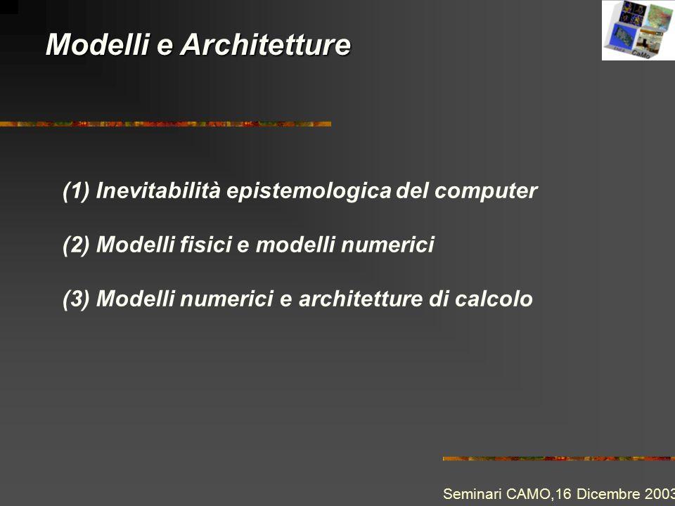 Modelli e Architetture Seminari CAMO,16 Dicembre 2003 (1) Inevitabilità epistemologica del computer (2) Modelli fisici e modelli numerici (3) Modelli
