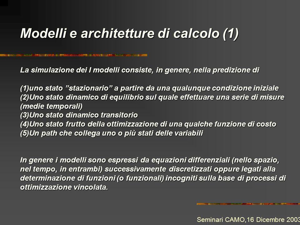 Modelli e architetture di calcolo (1) Seminari CAMO,16 Dicembre 2003 La simulazione dei I modelli consiste, in genere, nella predizione di (1)uno stat