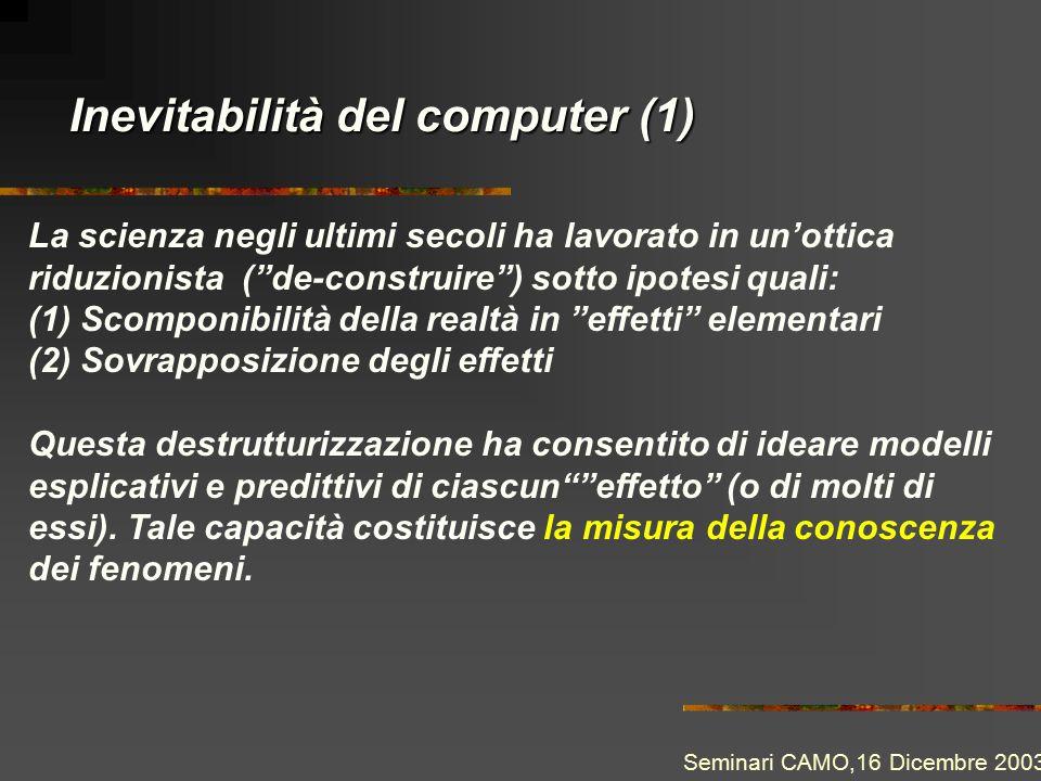 """Inevitabilità del computer (1) La scienza negli ultimi secoli ha lavorato in un'ottica riduzionista (""""de-construire"""") sotto ipotesi quali: (1) Scompon"""