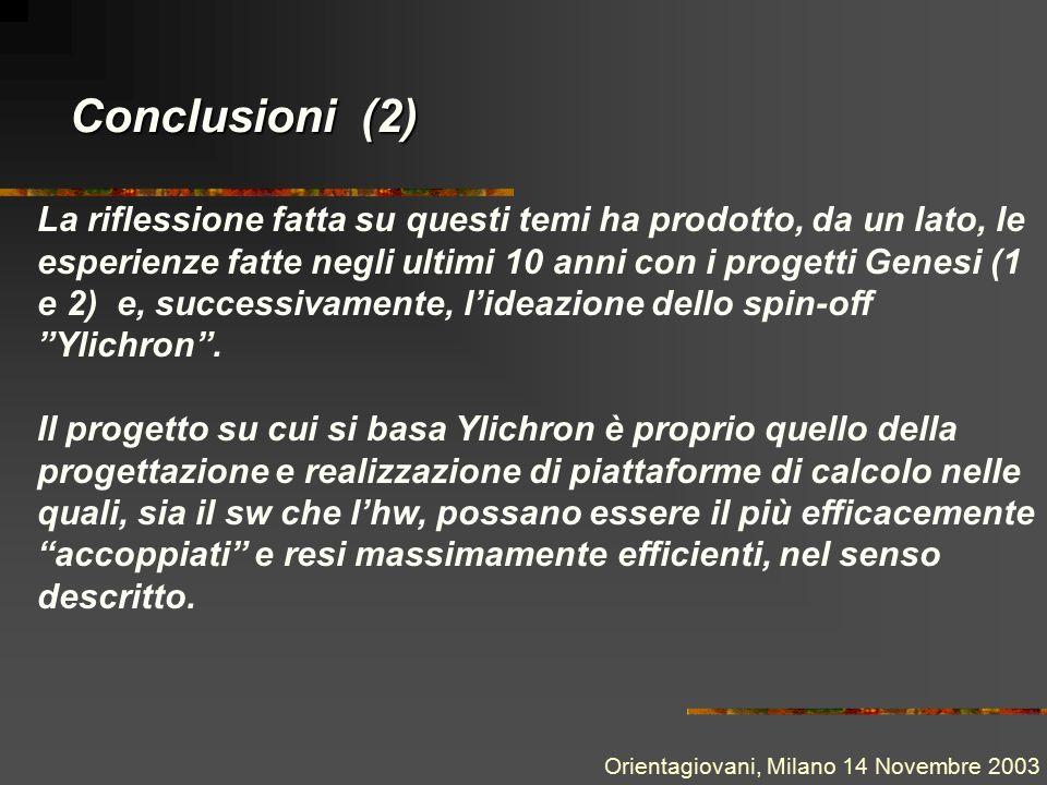 Conclusioni (2) La riflessione fatta su questi temi ha prodotto, da un lato, le esperienze fatte negli ultimi 10 anni con i progetti Genesi (1 e 2) e, successivamente, l'ideazione dello spin-off Ylichron .