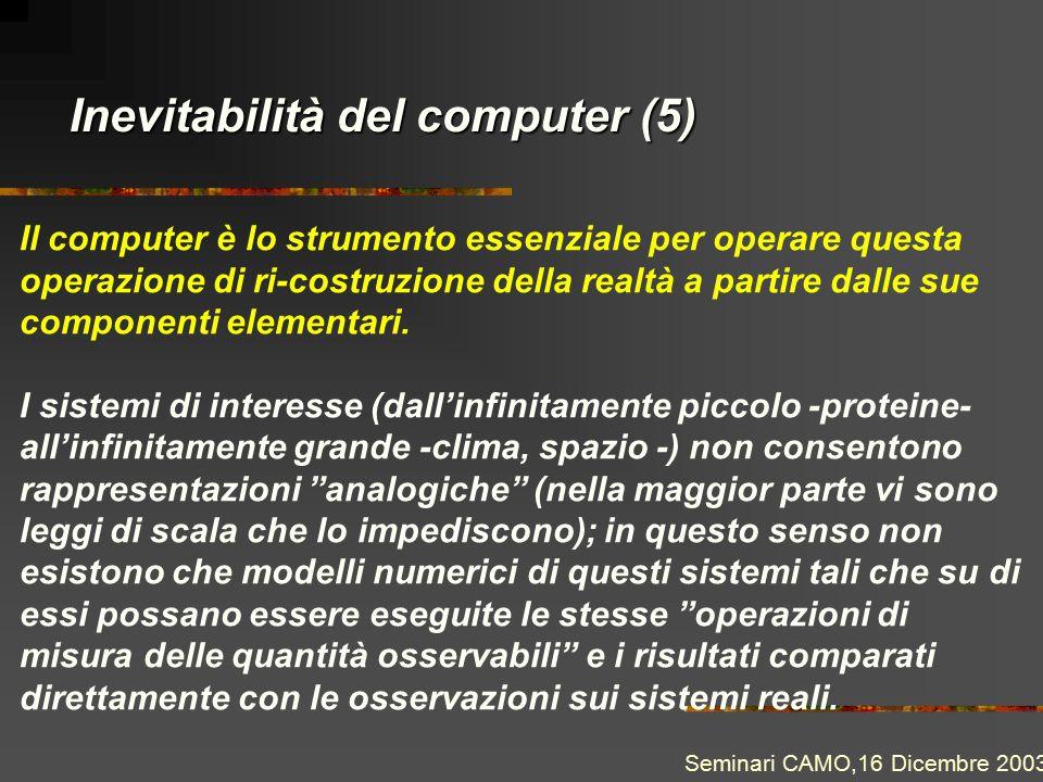 Inevitabilità del computer (5) Il computer è lo strumento essenziale per operare questa operazione di ri-costruzione della realtà a partire dalle sue componenti elementari.