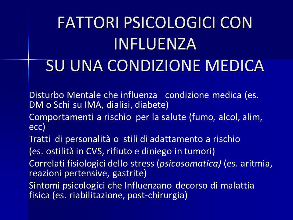 FATTORI PSICOLOGICI CON INFLUENZA SU UNA CONDIZIONE MEDICA Disturbo Mentale che influenza condizione medica (es.