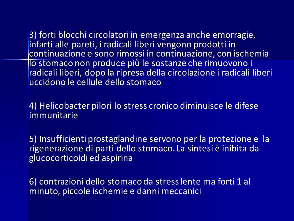 3) forti blocchi circolatori in emergenza anche emorragie, infarti alle pareti, i radicali liberi vengono prodotti in continuazione e sono rimossi in continuazione, con ischemia lo stomaco non produce più le sostanze che rimuovono i radicali liberi, dopo la ripresa della circolazione i radicali liberi uccidono le cellule dello stomaco 4) Helicobacter pilori lo stress cronico diminuisce le difese immunitarie 5) Insufficienti prostaglandine servono per la protezione e la rigenerazione di parti dello stomaco.