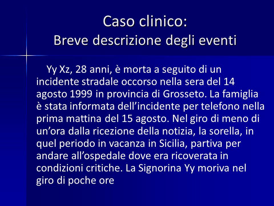 Caso clinico: Breve descrizione degli eventi Yy Xz, 28 anni, è morta a seguito di un incidente stradale occorso nella sera del 14 agosto 1999 in provincia di Grosseto.