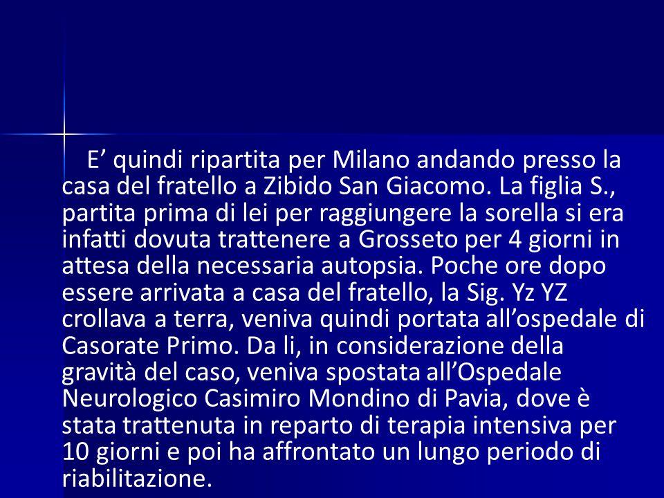 E' quindi ripartita per Milano andando presso la casa del fratello a Zibido San Giacomo.